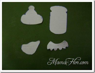 Pasar este molde del cuerpo del biberón a la mica transparente, y