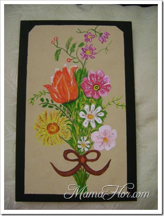 Pintura en madera : Ramo de flores II parte