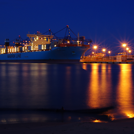 Container ship at night by Aneta Helwich - Transportation Boats ( water, night scene, transport, container, ship, boats, night, boat, photo,  )