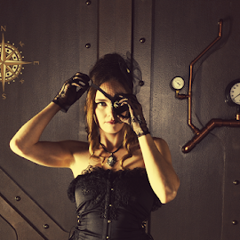She's a pirate she is by Ken Aponte - People Fashion ( fashion, eye patch, victorian, compass, steampunk )