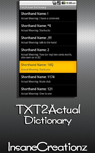 Texting Dictionary Txting