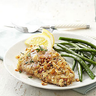Almond-Thyme-Crusted Mahi Mahi with Lemon Chardonnay Sauce