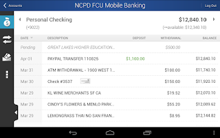 Screenshot of NCPD FCU Mobile Banking