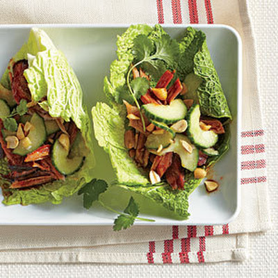 Korean Cabbage Wraps with Sweet-and-Sour Cucumber Salad