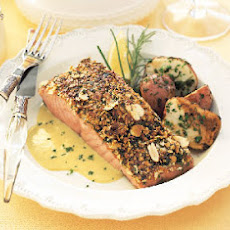 Almond-Crusted Salmon with Leek and Lemon Cream