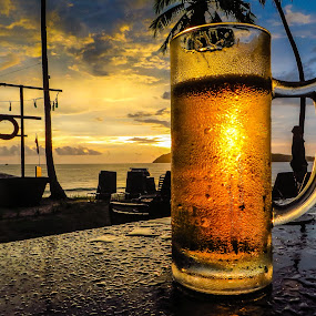 After work by Ralf Harimau Weinand - Food & Drink Alcohol & Drinks ( sonnenuntergang, sunset, pantai tengah, strand, tengah, bier, langkawi, franipangi )