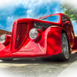 Red Rocker by RomanDA Photography - Transportation Automobiles ( car, red, canvas, classic, oil )
