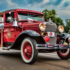 Antique Fire Truck by Pat Eisenberger - Transportation Automobiles ( car, engine, truck, automobile, auto, antique, fire )