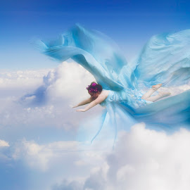 Soar by Rebecca Centers - Babies & Children Child Portraits ( girl child, clouds, flying, girl, blue, white, children, composite )