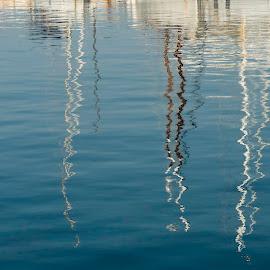 Reflections by Liam Coburn Dunne - Nature Up Close Water ( mirror, nikon 24-70, nikon d800, boats, flections, palamos, masts,  )