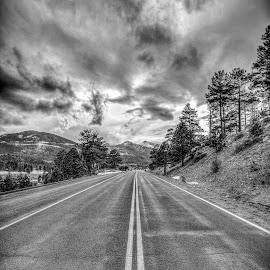 Rocky Mountain National Park  by Bhargava Chiluveru - Landscapes Travel ( black and white, rocky mountains, colorado, cloudy, road )