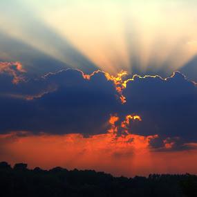 Clash of the Clouds by Marcel de Groot - Landscapes Cloud Formations ( clouds, orange, blue, sundown, cloudscape, orange. color, Earth, Light, Landscapes, Views )