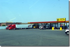 A CFI truck fuels at a truck stop in California