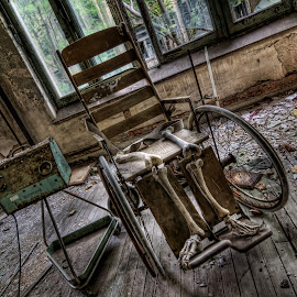 Vintage Antique Wheelchair/Medical Equipment by Dawn Robinson - Artistic Objects Antiques ( asylum, wheelchair, vintage, old objects, skeleton, antique, forgotten, abandoned,  )