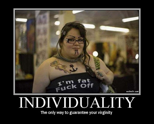 The funny individuality demotivational poster.