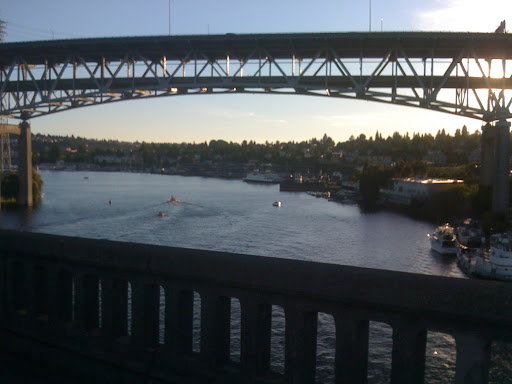 Atop the bridge over Lake Washington.  I5 Bridge in the distance.