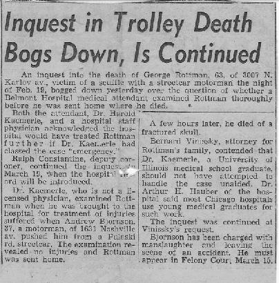 ROTTMAN, George ROTTMAN Article, Inquest in Trolley Death Bogs Down, Is Continued