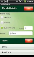 Screenshot of Cricket Scorer