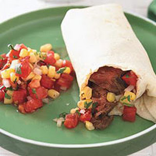 Skirt Steak Burritos with Tomato-Corn Salsa
