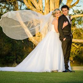 Sunset by Brad N Sky Thomson - Wedding Bride & Groom ( #love, #bride, #sunset, #park, #groom )