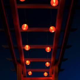 pergola at night by Daniel Ighisan - Buildings & Architecture Other Exteriors ( lights, red lights, night, hammock, night sky )
