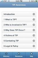 Screenshot of TIP Awareness