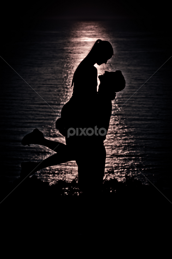 Sunset on Zakynthis Island by Stirbu Eduard Aurel - Black & White Portraits & People ( love, share, hug, sunset, couple, Love is in the Air, Challenge, photo,  )