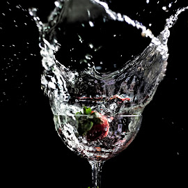 Red Surfin by Marlou Solleza - Food & Drink Fruits & Vegetables ( black background, isolated, fruit, strawberries, goblet, strawberry )