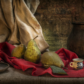 Autumn colors by Grigore Roibu - Artistic Objects Still Life ( cup, nap, still life, plants, plum brandy, object, brandy, contrast, candle, autumn, candle light, jug, fruit, vintage, green, vegetables, table, kitchen, curtain, picture, red, food, pears, conceptual, pear )