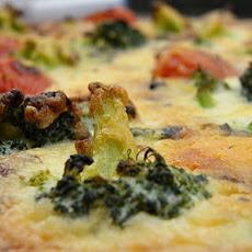 Tomato & Broccoli Quiche with a Layer of Pea Puree