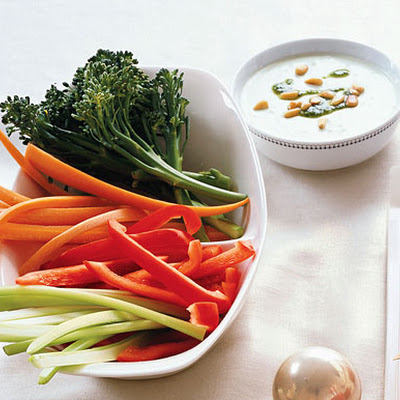 Crudités with Lemon-Pesto Goat Cheese Dip