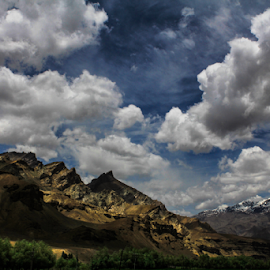 Get Off Of My Cloud by Debajit Bose - Landscapes Cloud Formations ( canon, mountain, snow peak, green, jammu kashmir, road, leh, sky, nature, snow, cloud, cloud formation, india, debajit bose, canon60d )