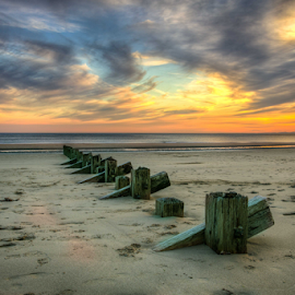 Wispy by Michael Payne - Landscapes Sunsets & Sunrises ( clouds, sand, north wales, sunset, sea,  )