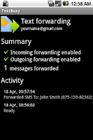 Screenshot of TextBusy: Forward SMS to email