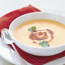 Chilled Corn Soup with Adobo Swirl
