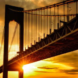 Spotlight by Linda Karlin - Landscapes Sunsets & Sunrises ( clouds, sunset, architecture, bridge, golden hour )