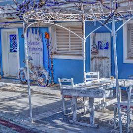Shop by Stratos Lales - City,  Street & Park  Markets & Shops ( shop, blue, castle, city, island )