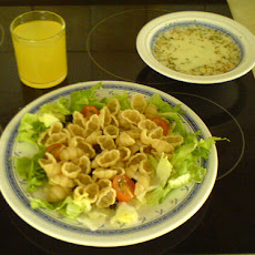 Warm Chicken Pasta over Salad