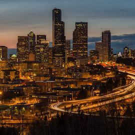 Seattle Skyline from Beacon Hill by Bill Kuhn - City,  Street & Park  Skylines ( skyline, traffic, seattle, beacon hill, downtown, city )