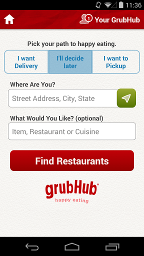 GrubHub Food Delivery Takeout Screenshot