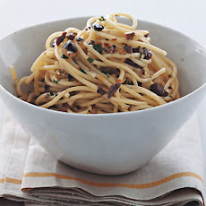 Spaghetti with Olive and Pine Nut Salsa