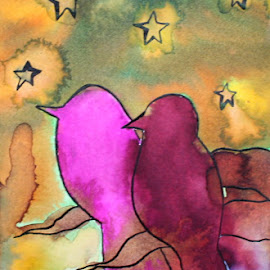 Stargazers by Vanessa Renee - Drawing All Drawing ( stars, fine art, birds, drawing, inkwash, ink )