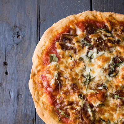 Caramelized Onion Arugula Pizza