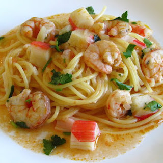Spaghetti With Shrimps And Seafood Delights