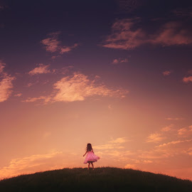 On Top of the World by Amy Booker - Digital Art People ( clouds, child, hill, girl, sunset )