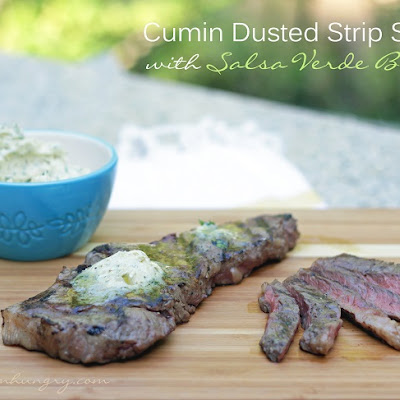 Cumin Dusted Strip Steaks with Salsa Verde Butter – Low Carb