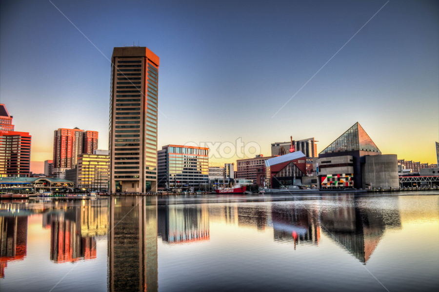 Baltimore Reflections by Geoff Lawrence - City,  Street & Park  Skylines ( federal hill, sunrise, baltimore, reflections, hdr )