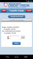 Screenshot of Arkansas FCU Mobile Banking