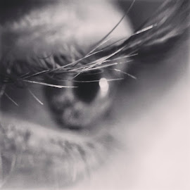 A Man's Daydream by James Timmer - People Body Parts ( black and white, macro photography, close up, eyes )