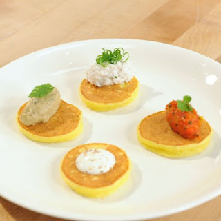 Yukon Gold Potato Blini with Eggplant Caviar
